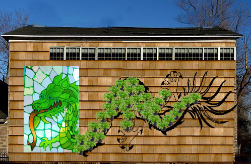 Dragon on the side of the house in stained glass, potted plants, and drawing.